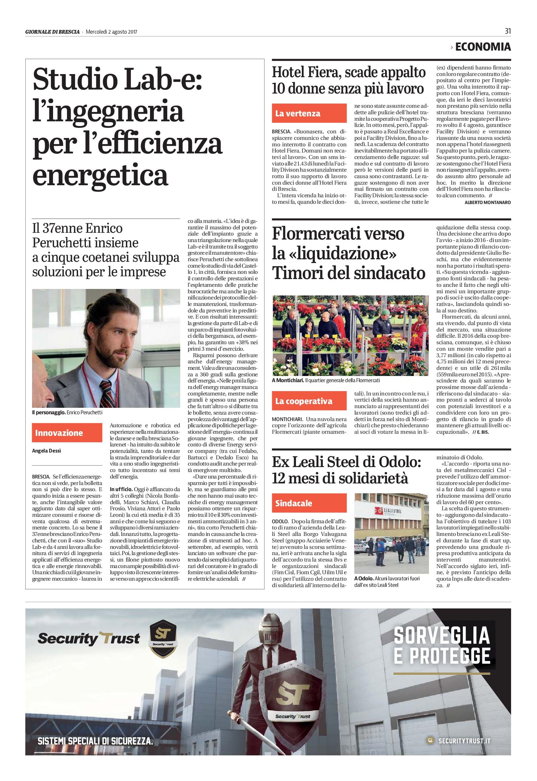 Il nostro Studio Lab-e sul Giornale di Brescia